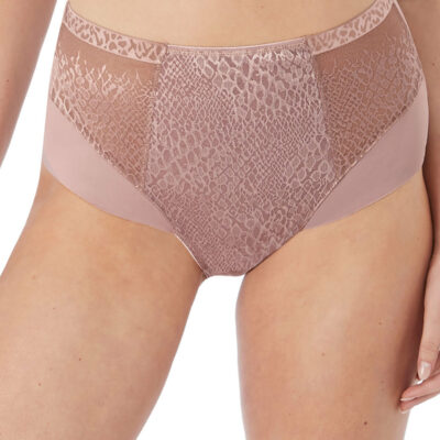 Front veiw of Fantasie's Envisage High waisted brief in Taupre .FL6918-TAE