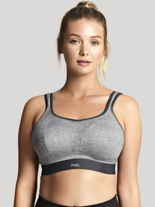 Close up of Panache Wire free Sports Bra in Charcoal Mall 7341B_